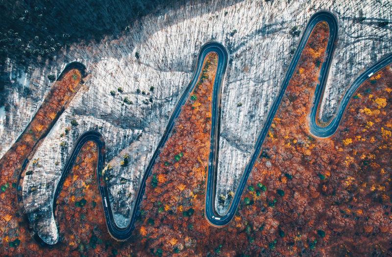 Aerial view of two seasons - ekg of nature