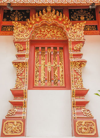 ASIA Faith Measuring Window Monastery Thailand Arched Window Art Believe Pattern Temple Temple - Building Temple Architecture Temple Thailand Thai Art; Thai Pattern Window