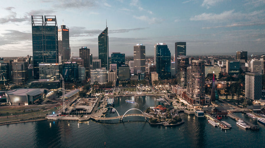 Aerial image of city of perth in western australia.