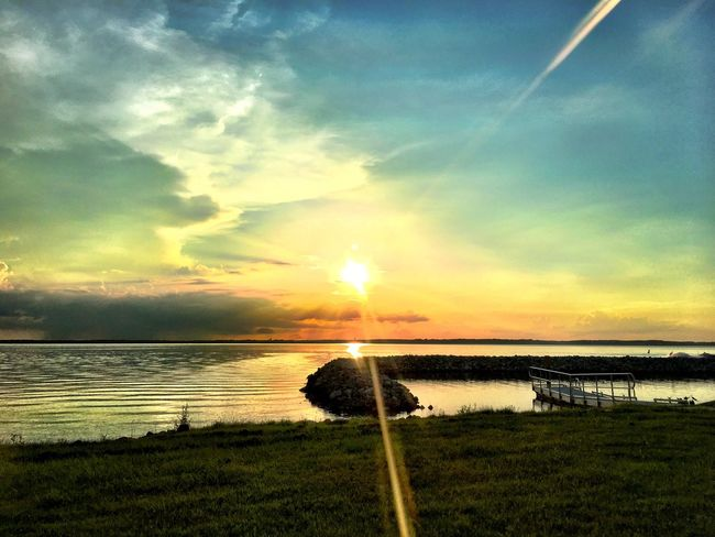 beam me up, sky daddy Water Sunset Sky Nature Beauty In Nature Scenics Tranquility Tranquil Scene Sea Sun Grass Outdoors Cloud - Sky No People Horizon Over Water Day
