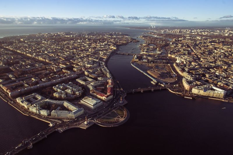 Aerial View Of Cityscape With Neva River