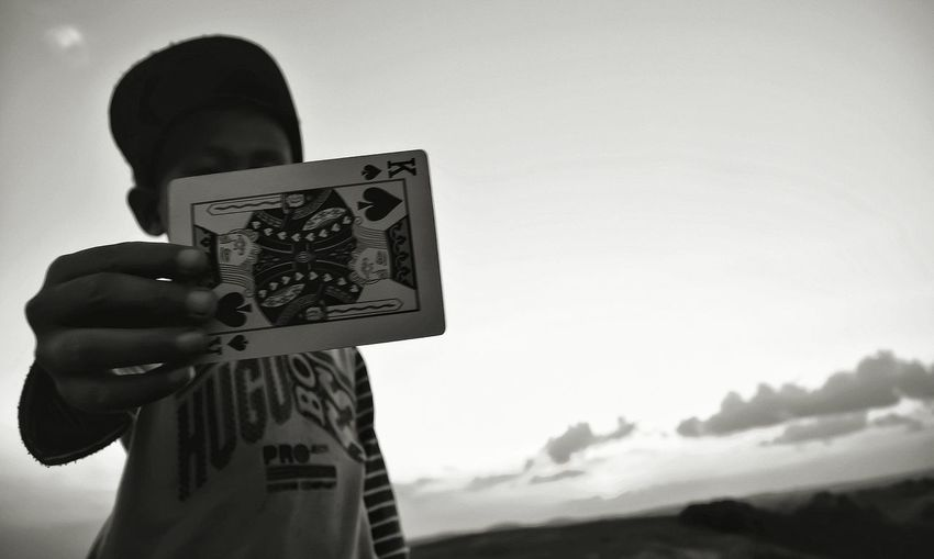 Message Blackandwhite Blackandwhite Photography Outdoor Ground Playingcards Kidsphotography Sky In Bintan  Riauisland One Person Waist Up