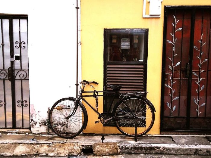 Singapore Bike Bike In A Street Bike On A Wall Old Bike No People Outdoors Transportation City