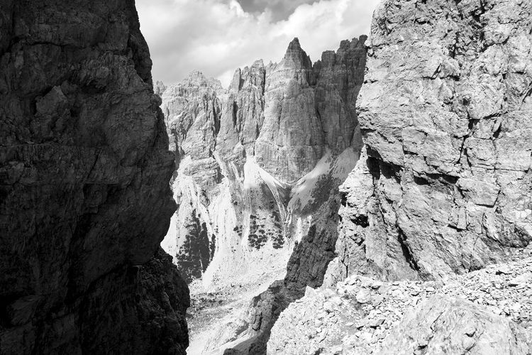 Cima Giaf in the Cridola range of the Dolomites, shot from Forcella Ferrucci. Dolomites, Italy Shadows & Lights Spalti Di Toro Beauty In Nature Blackandwhite Landscape Mountain Nature Outdoors Rock Formation Scenery