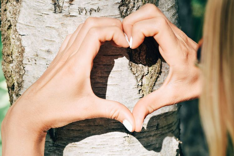 Midsection of woman making heart shape on tree trunk