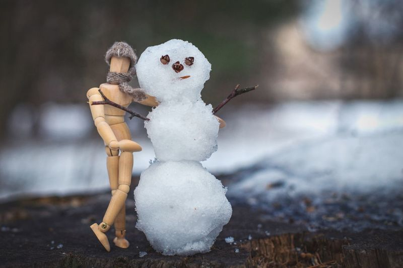 Close-up of wooden doll with snow art on field