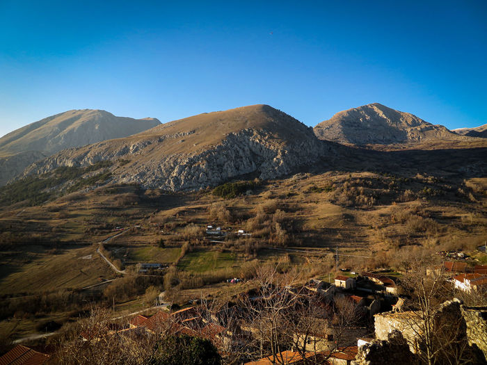 View of the abruzzo apennines from the medieval village of aielli,l'aquila italy. panoramic terrace.