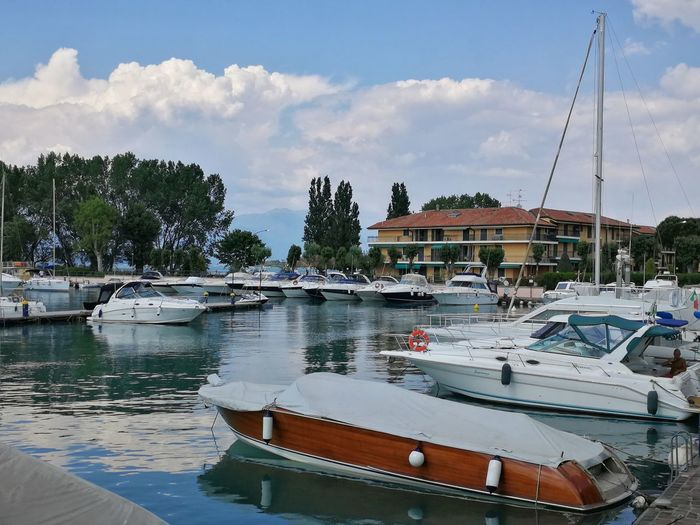 Sky Cloud - Sky Cloud Lombardy Italy Port Harbor Harbour Sirmione Lago Di Garda Gardasee Boat Tree Water Nautical Vessel Yacht Harbor Moored Beach Sailboat Business Finance And Industry Sky Sailing Ship Tall Ship Yachting Recreational Boat Marina Motorboat Boat Deck Passenger Ship