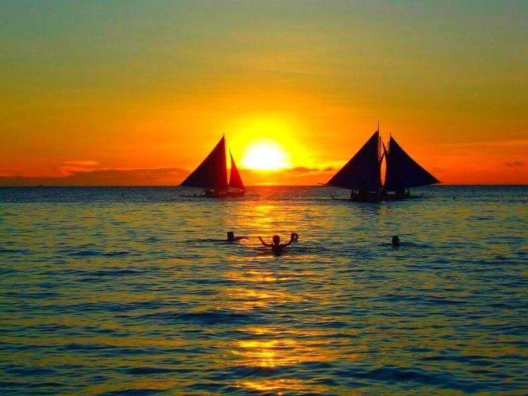 Sunset in Boracay , Philippines
