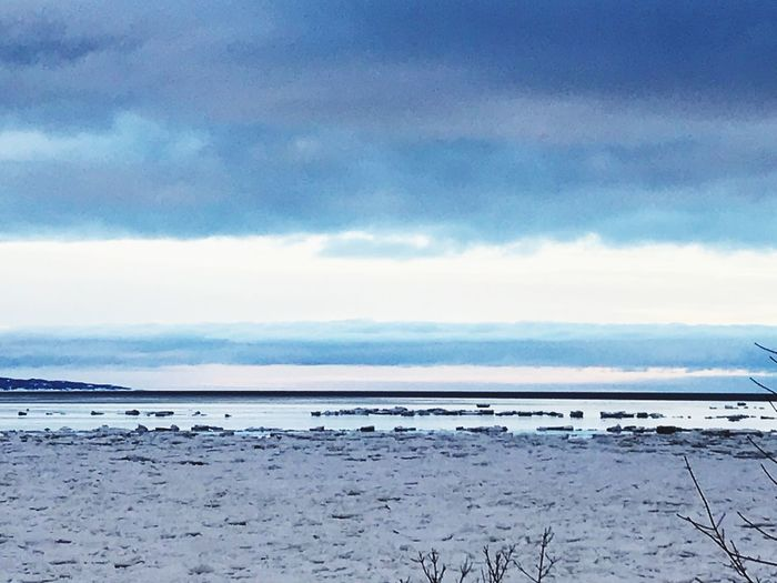 Sea And Sky Infinity Dark Sky Sky Shoreline Shore Wintertime Baie-comeau Cote-nord St-Lawrence Seaway Nature Water Sky Tranquility Scenics Beauty In Nature EyeEmNewHere Outdoors Cloud - Sky Tranquil Scene Sea Horizon Over Water Day Beach No People EyeEmNewHere EyeEmNewHere The Great Outdoors - 2018 EyeEm Awards