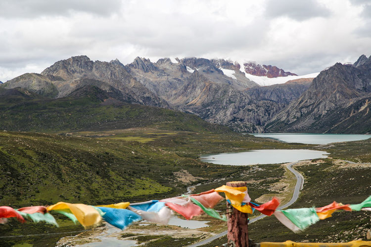 Panoramic view of lake against mountain range