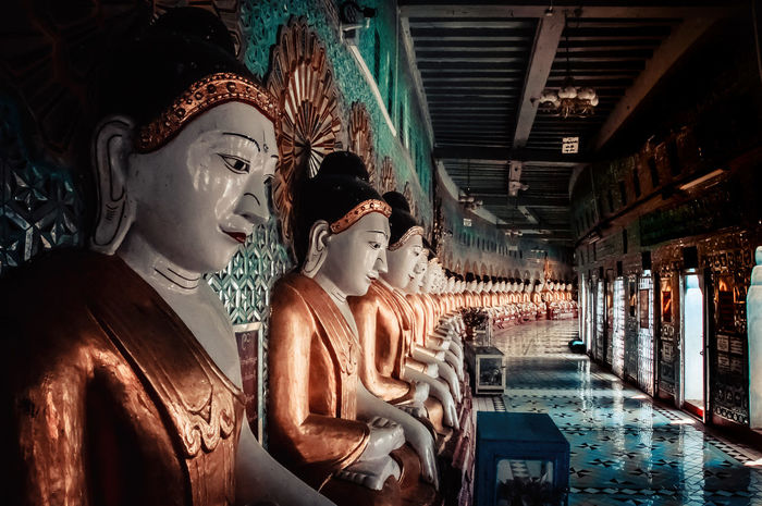 Burma Indoors  Myanmar Burma Temple Temple - Building Pagode Sculpture Buddhism Religion Mandalay TravelDestinations Visiting Mönch Monk  Gold One Person Only Women People One Woman Only Adult Adults Only Day