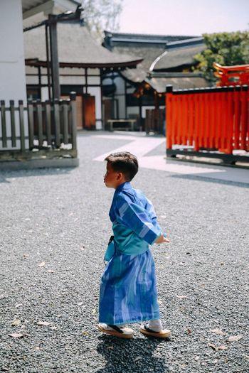 Pouting Pouting Little Boy Kimono Shrine Kyoto