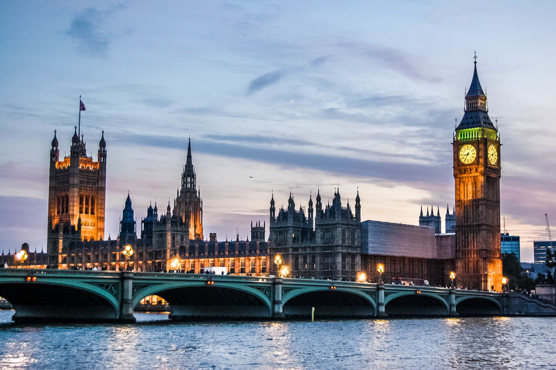 Illuminated big ben and houses of parliament by westminster bridge during sunset