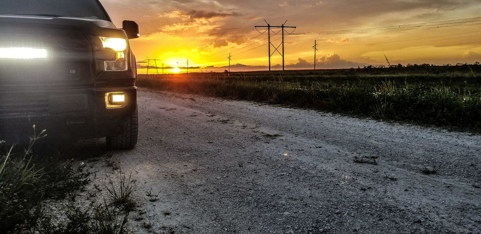 sunsets and lights Florida Everglades  Automotive Auto Truck F150 Sunset Dramatic Sky Land Vehicle Sky Cloud - Sky Monsoon Train - Vehicle Public Transportation Wet
