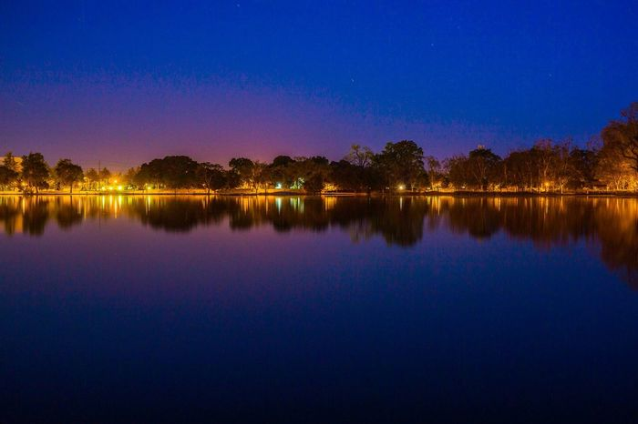Waiting for Sunrise . Water Lake Blue Hour Night Lights