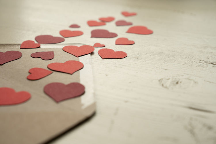 Close-up of heart shape on table