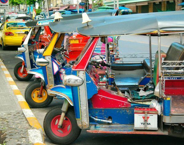 The famous tuk-tuks of Bangkok, Thailand. A must-do for all first timers going to Bangkok. Solotravels Backpacking Eyeemthailand Bangkok Public Transportation