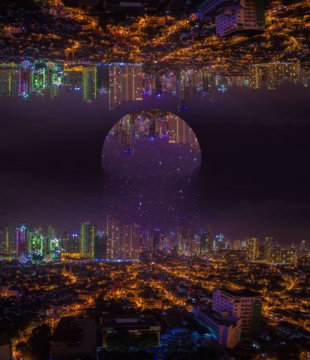 Digital composite image of illuminated city at night