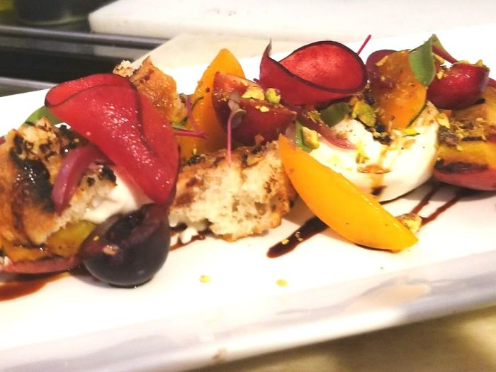 Summer stone fruit with burrata. Work Flow Details Of My Life Food And Drink Cheflife A Taste Of Life Happiness No People Love ♥ Freshness