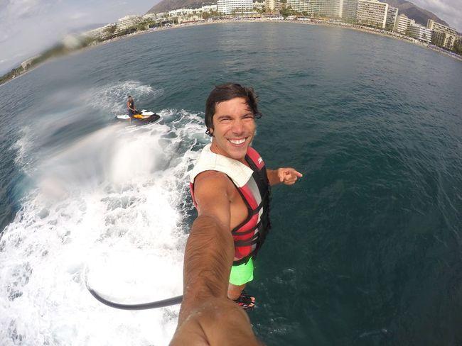 Flyboard in Marbella, my new hobbie Flyboard Flyboarding Marbella Extremesport Selfie ✌ Beach Sea Summer Hello Energy Positive Happy