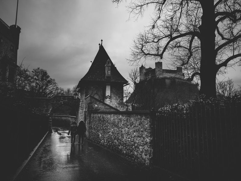 Walking to the castle under the rain Abundance Architecture Black And White Broken Building Exterior Built Structure Close Up Day Deterioration Leading Light Narrow Old Outdoors Religion Ruined Salzburg Side By Side Tree