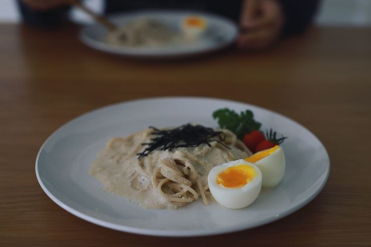 Pasta Pasta Japan Food And Drink Food Egg Plate Table Healthy Eating Freshness First Eyeem Photo Wellbeing