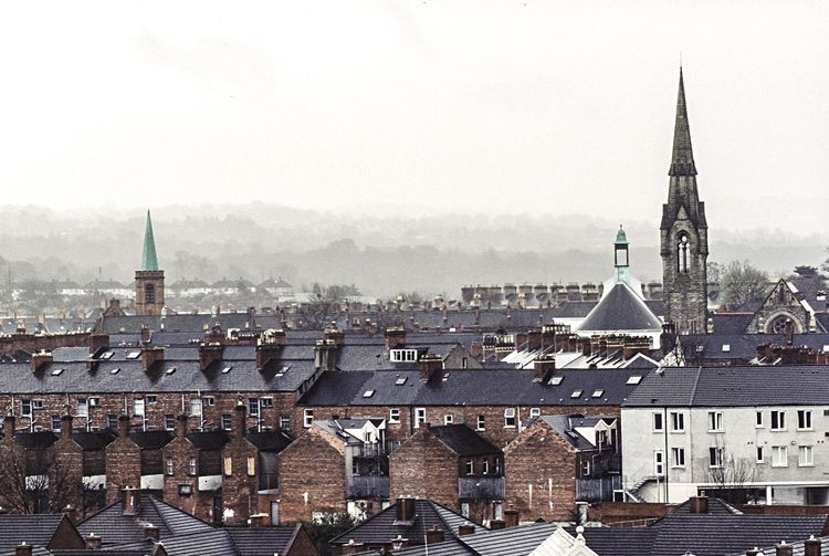 Foggy morning, Belfast. Cityscapes Fog Architecture Details City Church Spire  Mornings Urbanexploration Slide Film