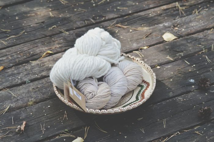 Knitting Skein Yarn Wool Wood - Material Still Life No People High Angle View Day