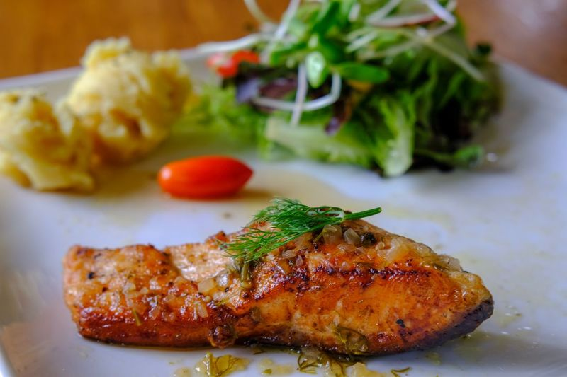 Salmon steak Lunch Steaks Salmon Salad Salmonsteak Food Food And Drink Ready-to-eat Plate Serving Size Freshness Indoors  Meat Healthy Eating Close-up Wellbeing Table Vegetable Fish