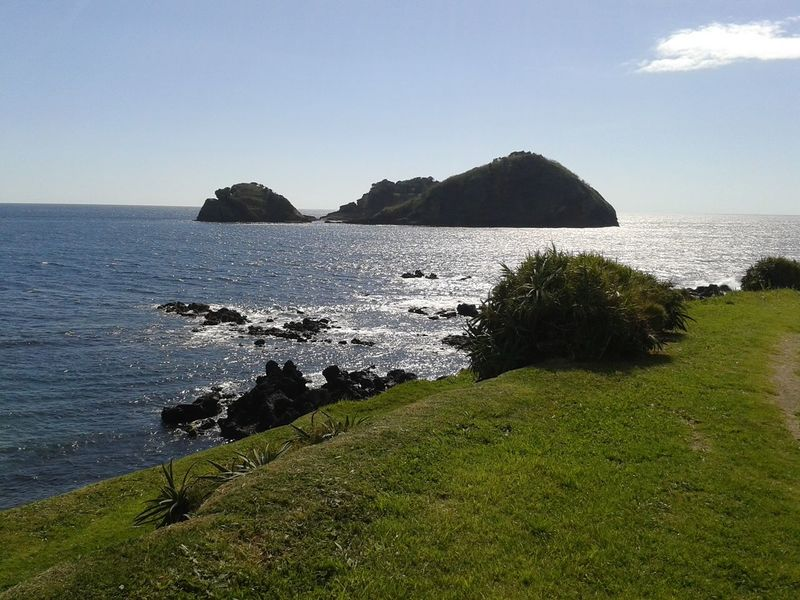Beauty In Nature Clear Sky Coastline Day Grass Green Color Horizon Over Water Idyllic Nature Rock - Object Rock Formation Scenics Sea Shore Sky Tranquil Scene Tranquility Water TheGreatOutdoors Thegreatoutdoorswithadobe Non-urban Scene Travel Destinations