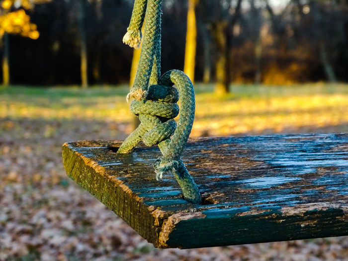 Close-up of rope on rusty metal