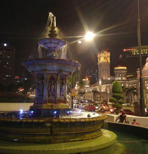 City lit up at night