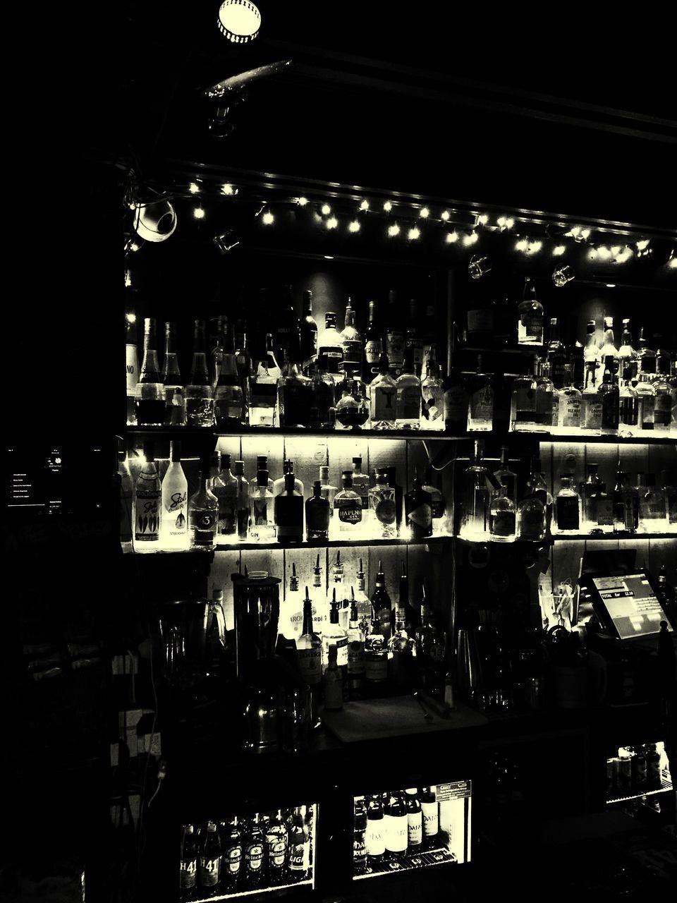 night, illuminated, indoors, store, shelf, bottle, retail, bar - drink establishment, no people, nightlife, alcohol, nightclub
