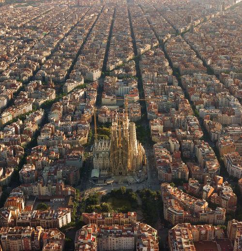 Aerial view of sagrada familia in city
