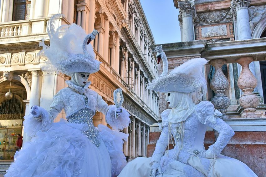 Architecture Building Exterior Outdoors Snow People Statue Day Sky Streetstyle Fashion Fashion Photography Performing Arts Event Carnival Crowds And Details Venetian Mask Performance Carnival Streetphotography Fashion&love&beauty