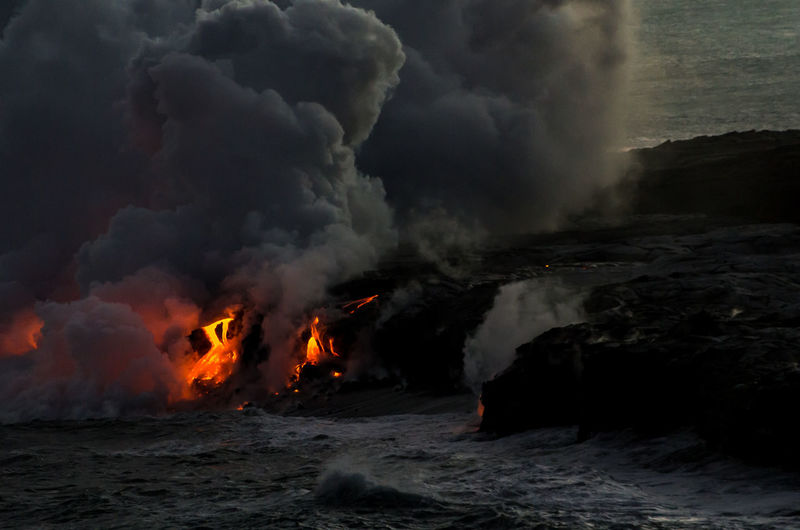 Big Island Day Erupting Hawaii Lava Nature No People Ocean Outdoors Power In Nature Smoke Smoke - Physical Structure Water