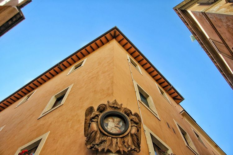 Low Angle View Architecture Building Exterior Built Structure Clock Time Clear Sky Clock Tower Day No People Outdoors Blue Roman Numeral Window Minute Hand Clock Face Sky Hour Hand Astronomy