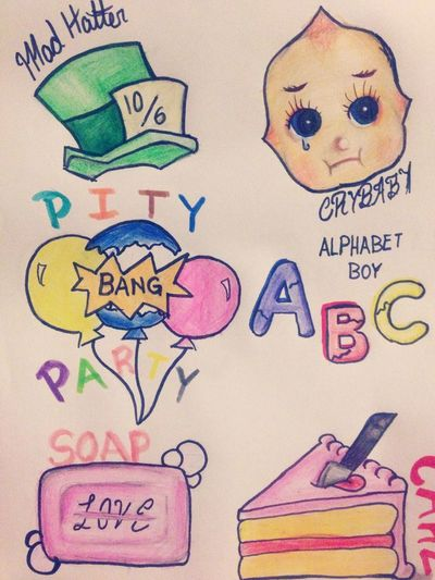 A little bit of Melanie Martinez inspired mischief these are all names of songs from her upcoming album crybaby 😊 Crybaby Doodle Cute Melanie Martinez Serial Doodler Colors Fan Art Art Messing Around Drawing