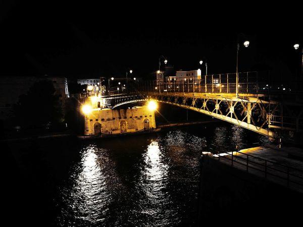 Ponte Girevole Pontegirevole Taranto No People Bridge - Man Made Structure Outdoors Reflection Illuminated Night Water Architecture Sky City HDR Sky And Clouds Scenics Taranto Lungomare