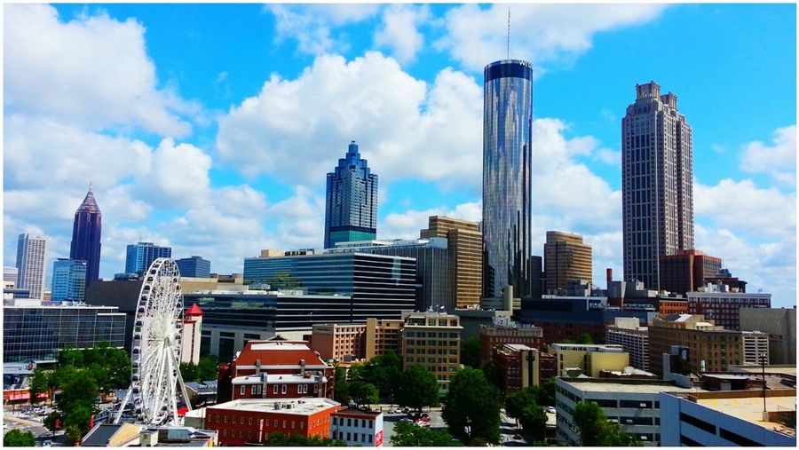 Atlanta,Ga Downtown SKYLOUNGE Ferris Wheel Skyline Skyview Highrises Clouds And Sky Blue Skies Sky Collection