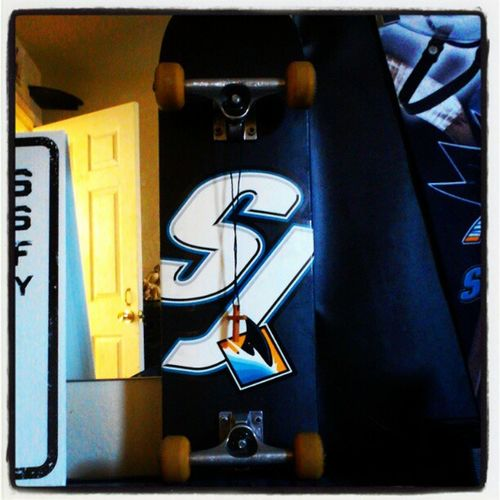 Just a random picture of my skate board Sanjosesharks Skateboard Randompic Sharks