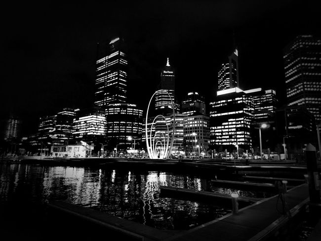 City lights Black And White City Cityscape Lights City Lights XperiaZ5 Perth City Lights Perth Australia Elizabeth Quay Eyeemphoto Battle Of The Cities Overnight Success Embrace Urban Life My Year My View Welcome To Black