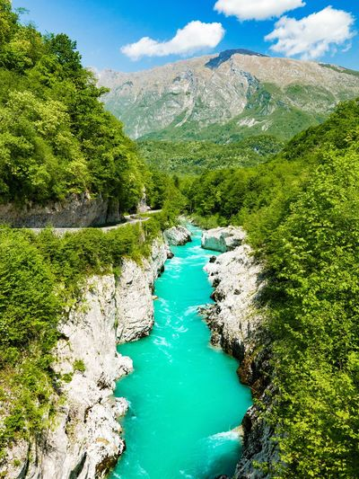 Emerald river canyon. River Mountain Emerald Turquoise Landscape_Collection Landscape_photography Nature_collection Travel Green Water Mountain Sky Green Color Cloud - Sky Landscape Natural Landmark Canyon