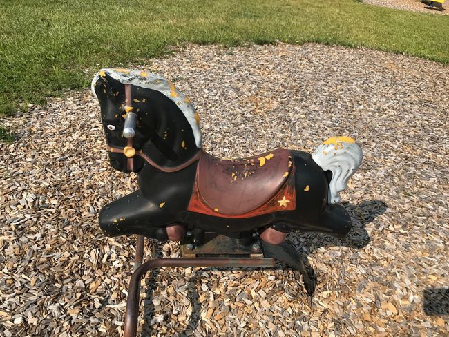 Rocking horse, playground, black, old, outdoors, summer fun.