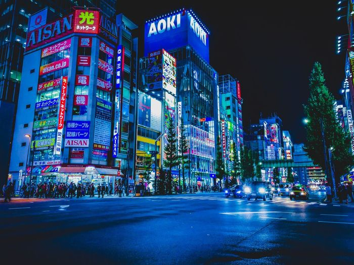 Akihabara Japan Photography ShotOnIphone Japan Illuminated Night City Architecture Built Structure Building Exterior Street Road No People Building Transportation Nature Multi Colored Lighting Equipment Outdoors Glowing Communication Office Building Exterior Decoration Text