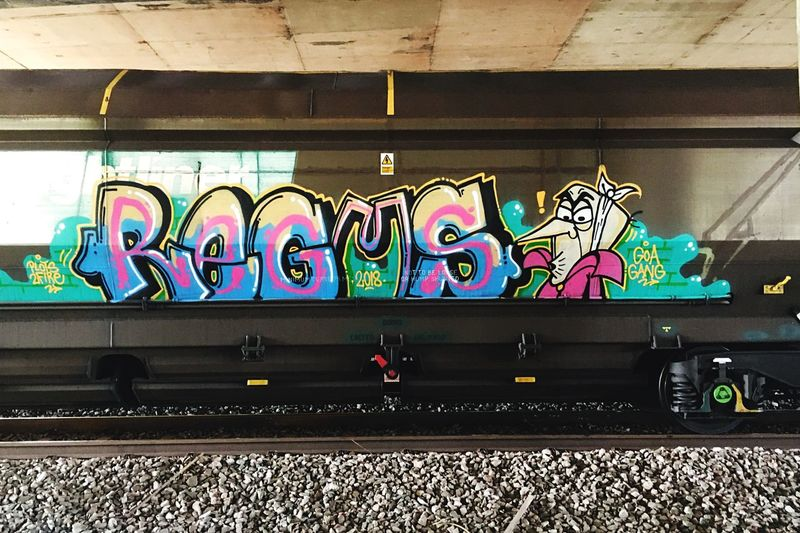 Graffiti on wall of train