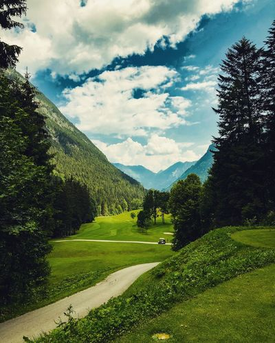 Wonderful Day to golf Golfing Golf Course Golf Plant Sky Cloud - Sky Tree Nature Beauty In Nature Grass Green Color Outdoors Landscape No People Land Growth