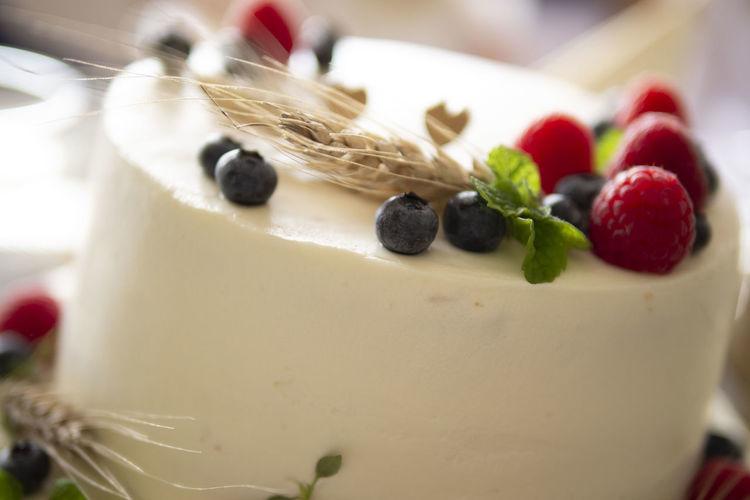 Close-up of strawberry cake
