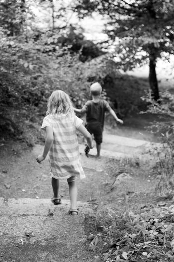 Kids Black And White Enjoying Life Love